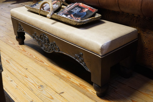 CREAM WOODEN BENCH WITH HAND CARVED INLAY