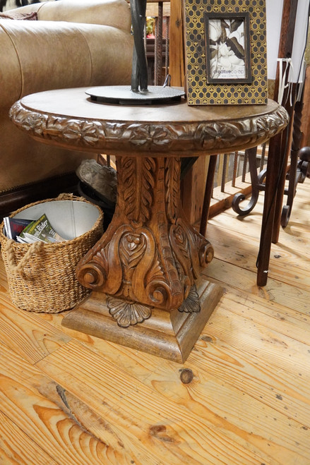 "AMER CARVED END TABLE 26"" ROUND"