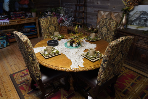 CARVED ROUND DINNING ROOM TABLE