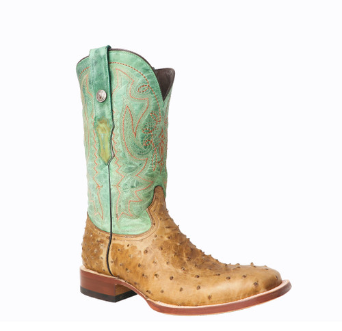 TANNER MARK IMITATION OSTRICH TAN WITH GREEN TOP