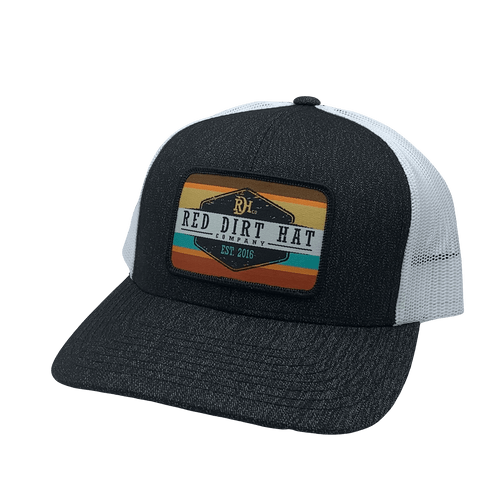 """RED DIRT HAT CO """"ARMY SUNSET"""" HEATHER BLACK/ WHITE CAP"""
