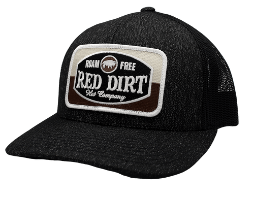 "RED DIRT HAT CO ""ROAM FREE"" HEATHER BLACK/ BLACK CAP"
