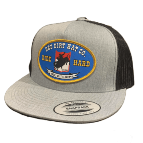 "RED DIRT HAT CO ""BUCKING BUFFALO"" HEATHER GREY/ BLACK CAP"