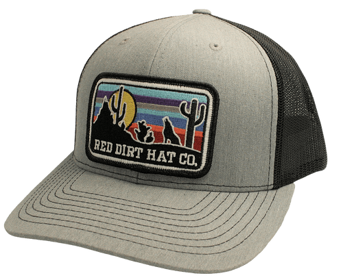 """RED DIRT HAT CO """"COYOTE"""" HEATHER GREY/ BLACK CAP"""