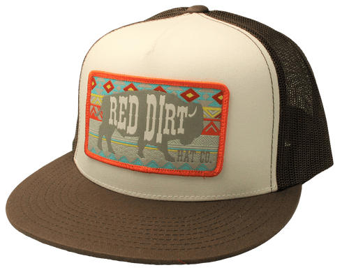 """RED DIRT HAT CO """"AZTEC BUFFALO"""" BROWN/ WHITE CAP"""