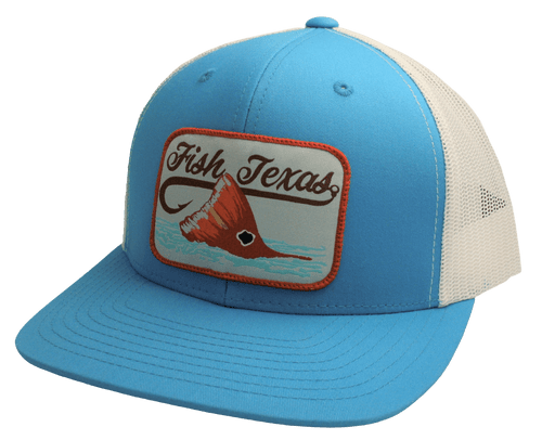 """RED DIRT HAT CO """"RED FISH"""" CYAN/ WHITE CAP"""
