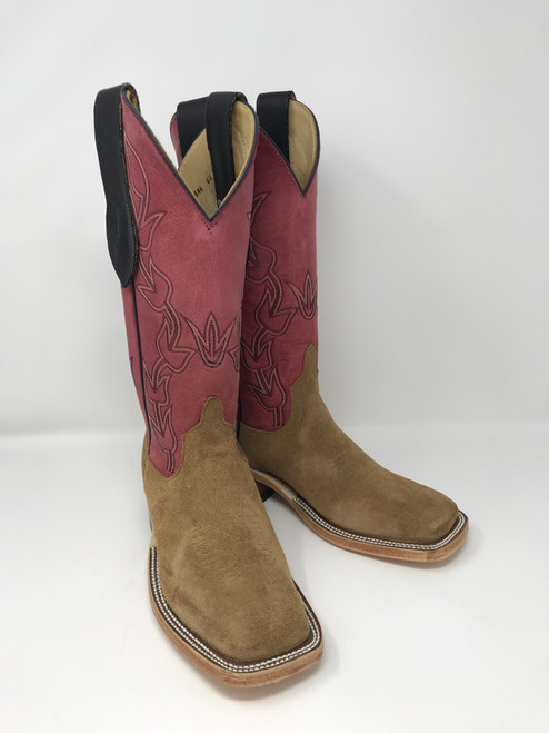 ANDERSON BEAN WOMEN'S TAN CRAZY HORSE ROUGHOUT / WINE TOP