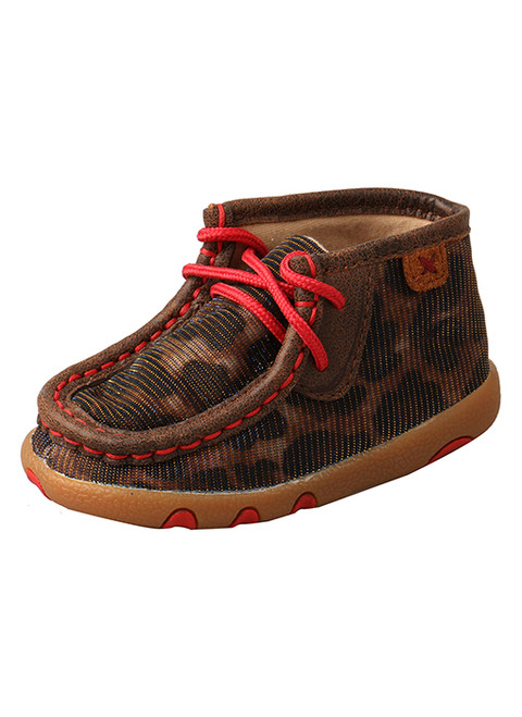TWISTED X INFANT CHUKKA DRIVING MOC RED SHINY LEOPARD