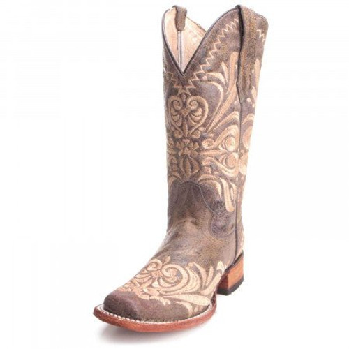 CIRCLE G WOMEN'S DISTRESSED EMBROIDERED SQUARE TOE BROWN