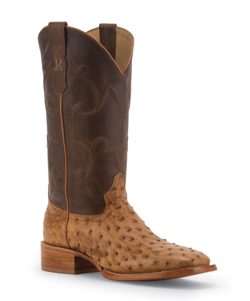 R. WATSON BOOTS ANTIQUE SADDLE FULL QUILL OSTRICH/ TAN