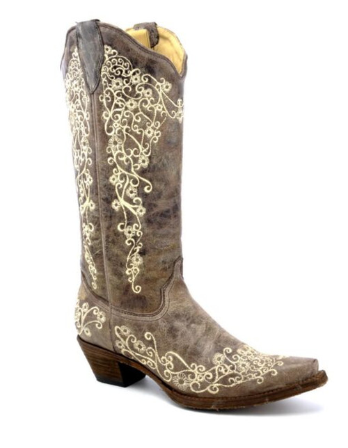CORRAL WOMEN'S BROWN CRATER BONE EMBROIDERY SNIP TOE