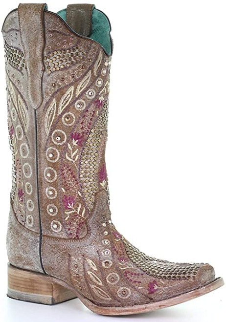 CORRAL WOMEN'S TAUPE FLOWERED EMBROIDERY