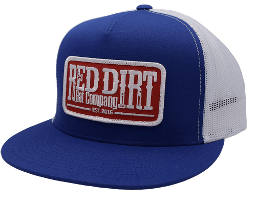 """RED DIRT HAT CO """"TAG"""" ROYAL/ WHITE CAP"""