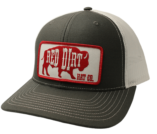 """RED DIRT HAT CO """" RED ORIGINAL BUFFALO"""" CHARCOAL/WHITE CAP"""