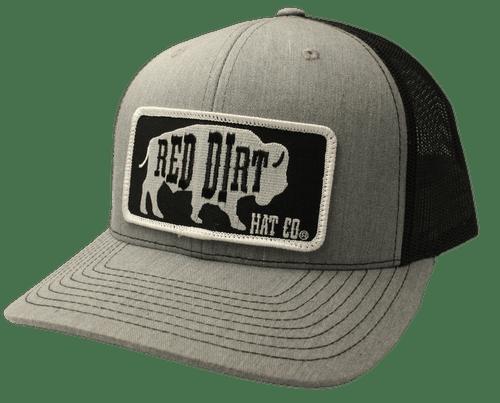 "RED DIRT HAT CO ""BLACK ORIGINAL BUFFALO"" HEATHER GREY/BLACK CAP"