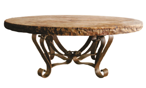 ROUND COFFEE TABLE W/ CHISELED TOP