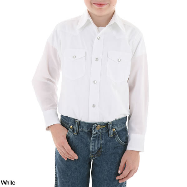 Boys Wrangler Dress Western Solid Snap Long Sleeve Shirt