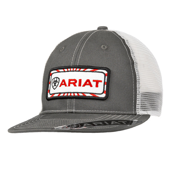 ARIAT GRY/RED PATCH SNAPBACK