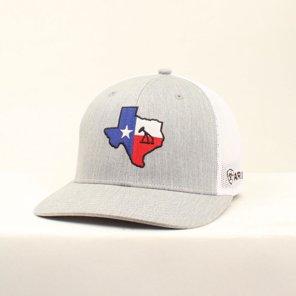 ARIAT GRY/RED/WHITE TEXAS OIL  PATCH SNAPBACK