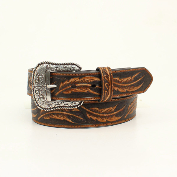 ARIAT MENS TOOLED FEATHER BELT