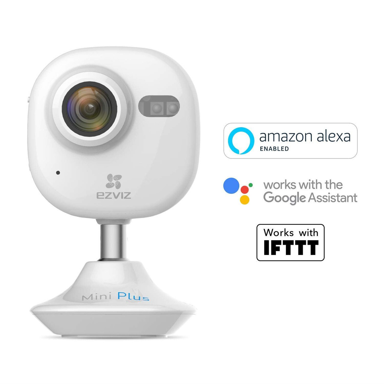 EZVIZ Mini Plus White, 1080p WiFi Smart Home Security Camera, Works with  Alexa