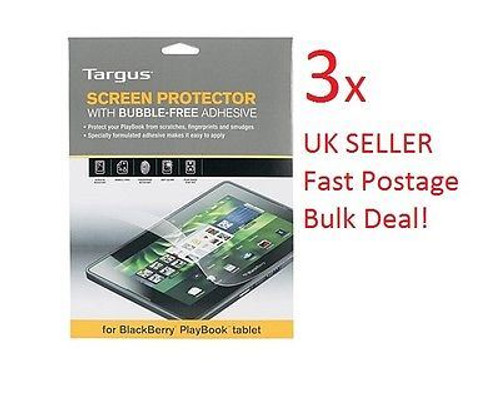 "3 x Targus Blackberry Playbook LCD Screen Protector Bubble Free adhesive 7"" Tablet"