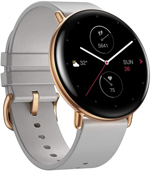 Zepp E Circle Health & Fitness Tracking Leather Smart Watch Moon Grey