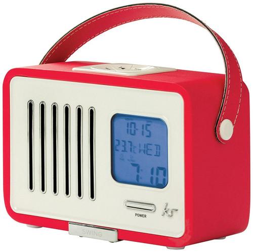 KitSound Swing Mini Portable 1920s Style Retro FM Radio with Alarm Clock - Red