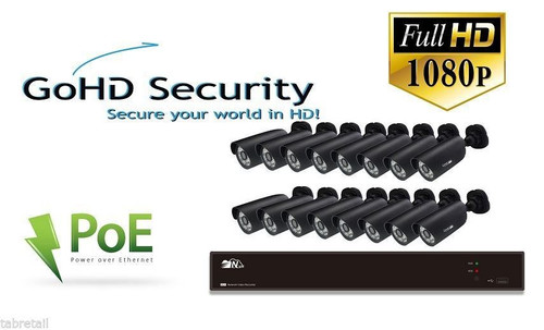 Go HD Security 16 Channel CCTV NVR with 2 x 1080p Night Vision PoE Cameras