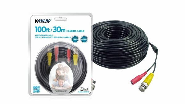 KGuard AH281B-30 100ft/30M Universal CCTV BNC Camera Extension Cable