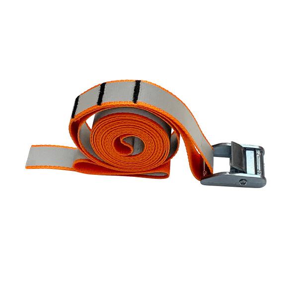 Cam Buckle with 9 Foot Orange Reflective Polypropylene Strap