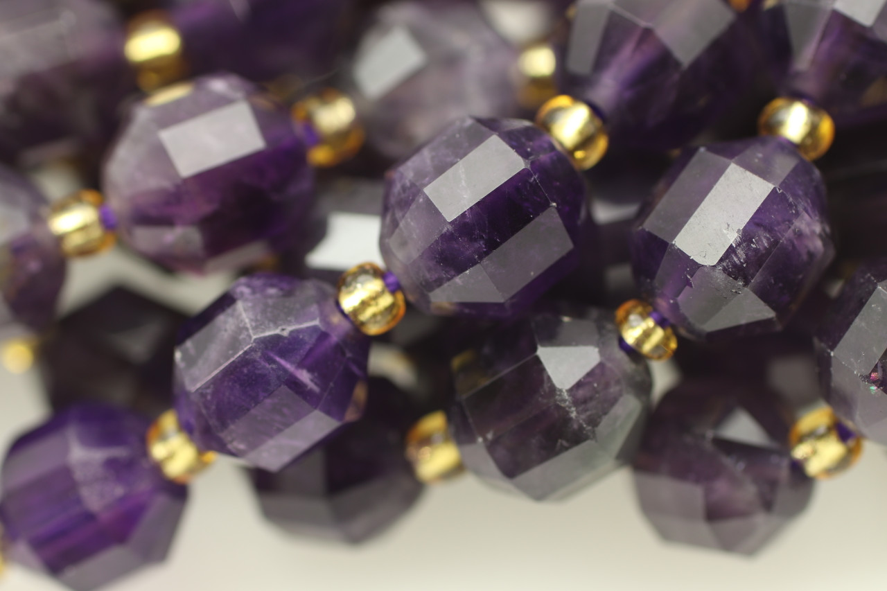 16 inch strand of Dark Purple Agate faceted round beads 10mm