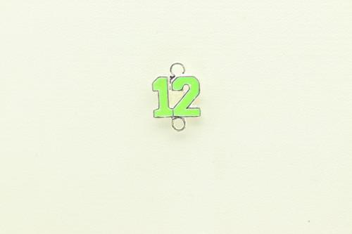 #12 Green Enamel Charm 18x12mm DOUBLE LOOP
