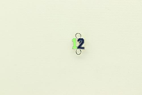 Green & Blue Enamel Charm 13x8mm DOUBLE LOOP