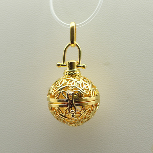 Cage Globe Gold Filigree Pendant 28mm