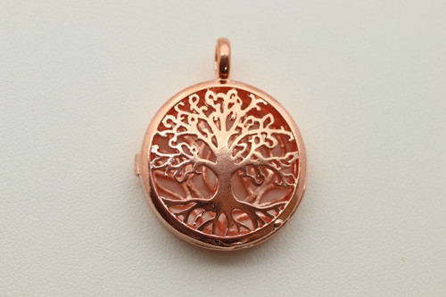 Cage Rose Gold Filigree Tree Life Pendant 33mm