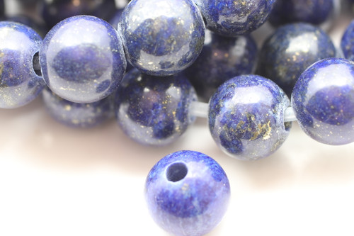 Lapis, Dyed, Smooth Round with Large Hole