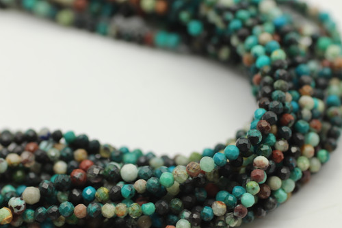 2mm Chrysocolla, Chinese Faceted Strand