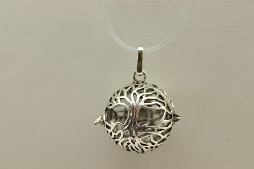 Cage Silver Filigree Tree of Life Pendant 30mm