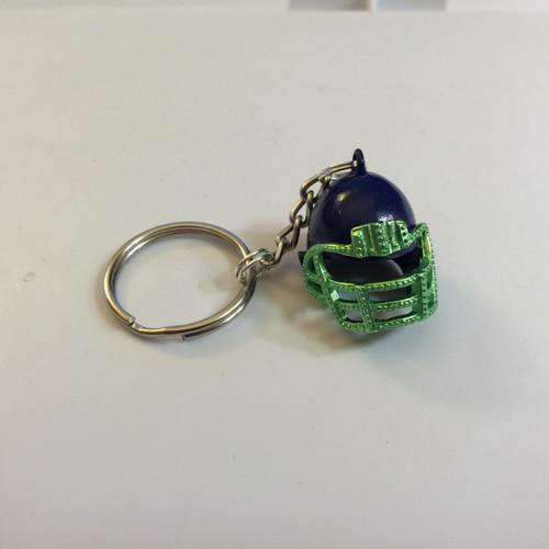 Blue & Green Enamel Football Helmet Charm 25x25mm Key Ring