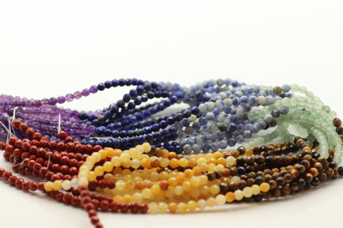 4mm Mixed Stone, Chakra, Natural, Faceted Round