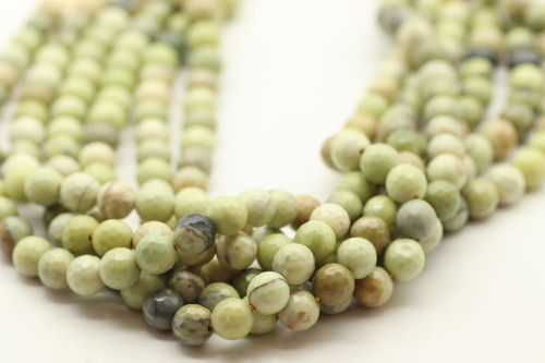8mm Jade, Avocado (Serpentine), Natural, Faceted Round