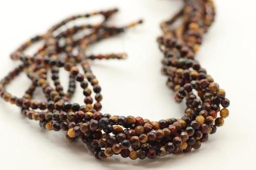 4mm Tiger's Eye, Mix Color, Heated, Faceted Round