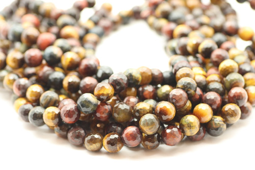 10mm Tiger's Eye, Mix Color, Heated, Faceted Round
