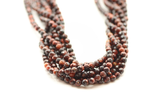 4mm Tiger's Eye, Red, Heated, Faceted Round