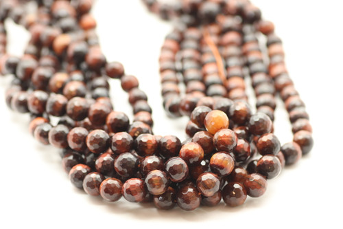 8mm Tiger's Eye, Red, Heated, Faceted Round