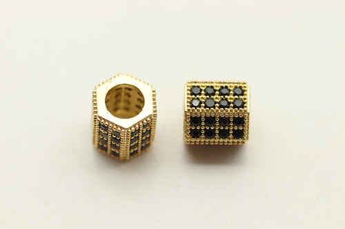 Crystal Hexagon Spacer Gold
