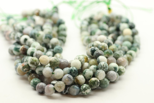 10mm Agate, Tree, Natural, Faceted Round