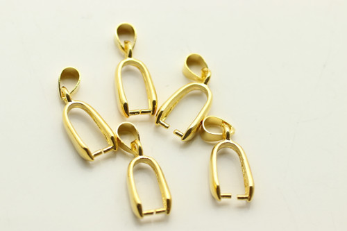 BAIL, Pinch, Gold Plated (metal alloy), 23x8 5mm at bail, approx 5 per bag