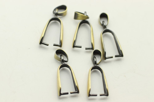 BAIL, Pinch, Antique Bronze Plated (metal alloy), 25x3 5mm at bail, approx 5 per bag